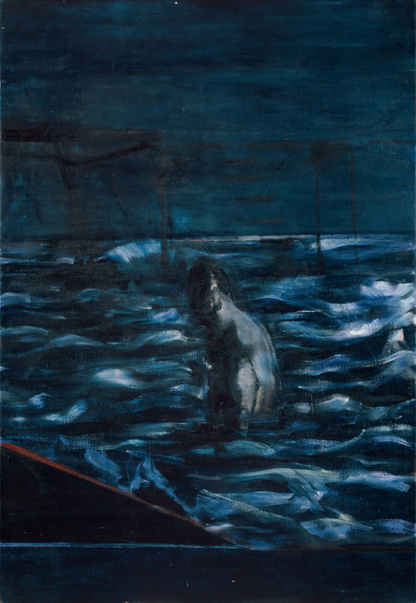 Image: Francis Bacon's oil on canvas painting: Figure in Sea, c.1957. Catalogue raisonné number 57-24.