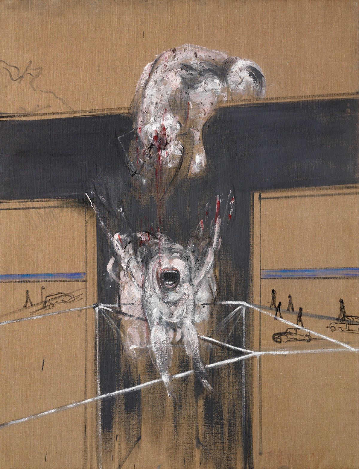 Francis Bacon, Fragment of a Crucifixion. Oil and cotton wool on canvas. CR number 50-02. © The Estate of Francis Bacon / DACS London 2020. All rights reserved.