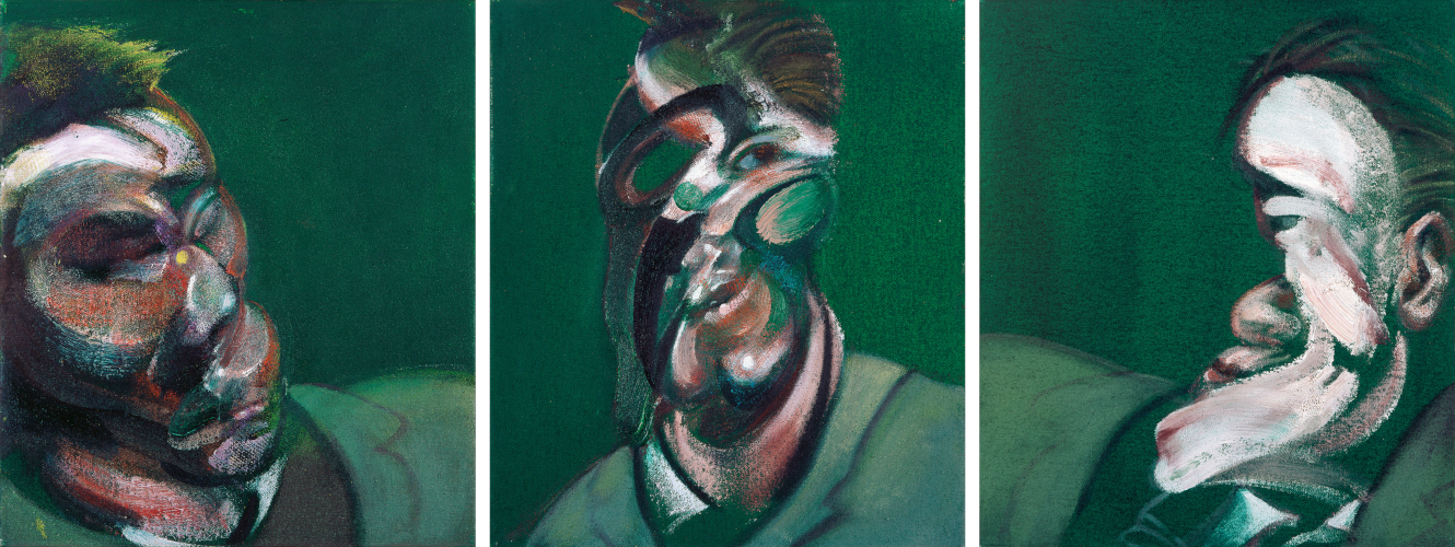 Francis Bacon's oil on canvas painting: Three Studies for a Self-Portrait, 1967. Catalogue raisonné number 67-01.