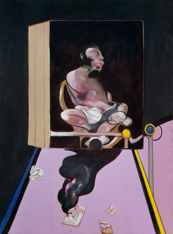 Decorative image, Francis Bacon, Study for Portrait, 1977. Oil and dry transfer lettering on canvas.