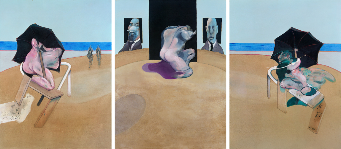 Decorative image: Francis Bacon's oil pastel and dry transfer lettering on canvas painting Triptych 1974-1977.