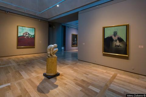 Installation shots from Francis Bacon and the Art of the Past including 57-20 Study for Portrait of P.L. No. 2