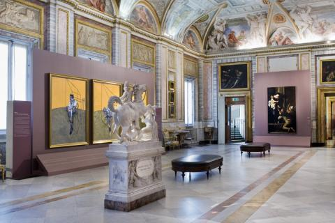 Installation shot from Caravaggio Bacon (Galleria Borghese, 2009-10) including 69-07 Three Studies of Lucian Freud