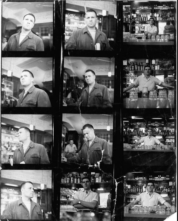 Contact sheet showing photographs of Frank Auerbach and unknown man, by John Deakin