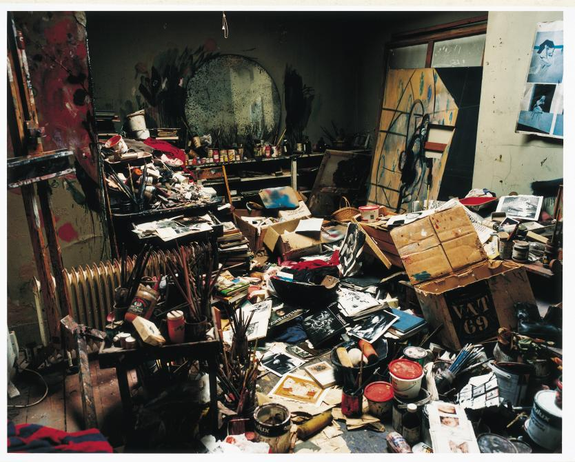 Photograph inside Francis Bacon's 7 Reece Mews studio, London 1998