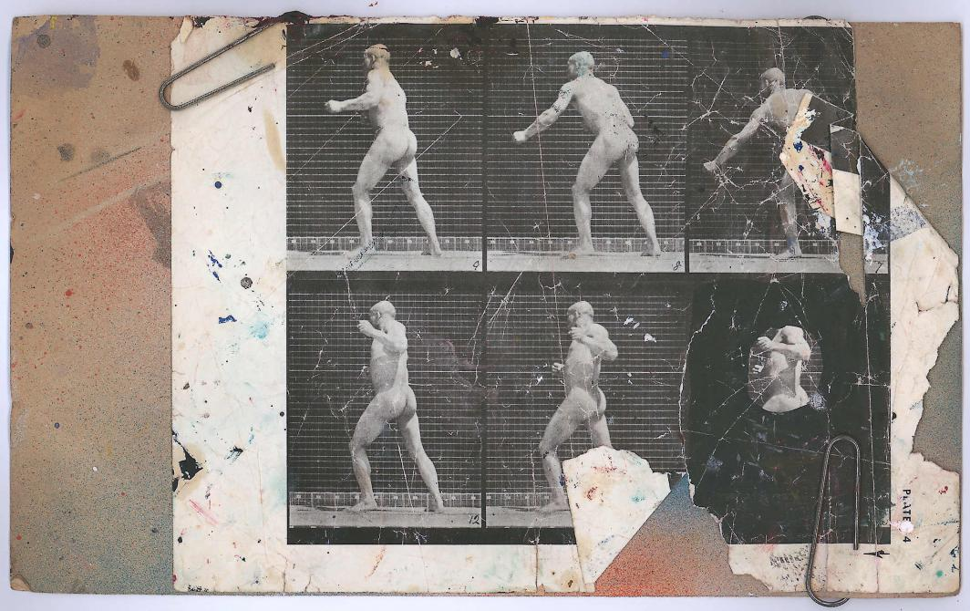 leaf from book, Eadweard Muybridge, The Human Figure in Motion, showing Man Shadow Boxing