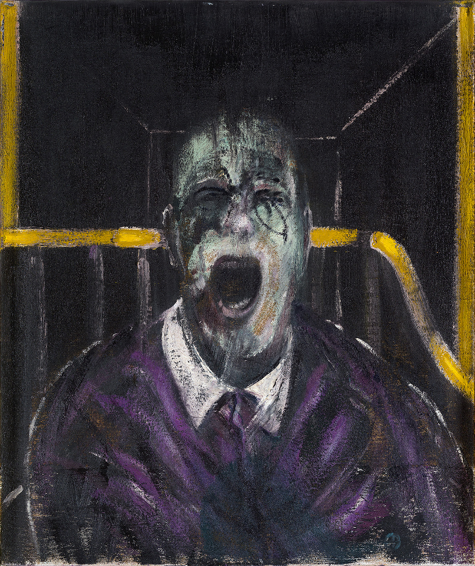 Image: Francis Bacon's oil and sand on canvas painting: Study for a Head, 1952. Catalogue raisonné number 52-07.
