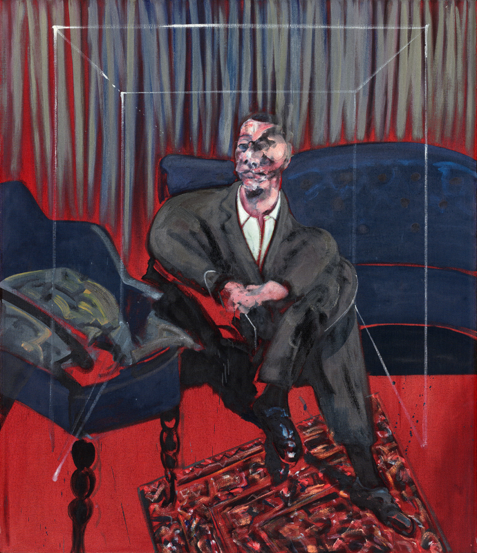 Image: Francis Bacon's oil and sand on canvas painting: Seated Figure, 1961. Catalogue raisonné number 61-16.