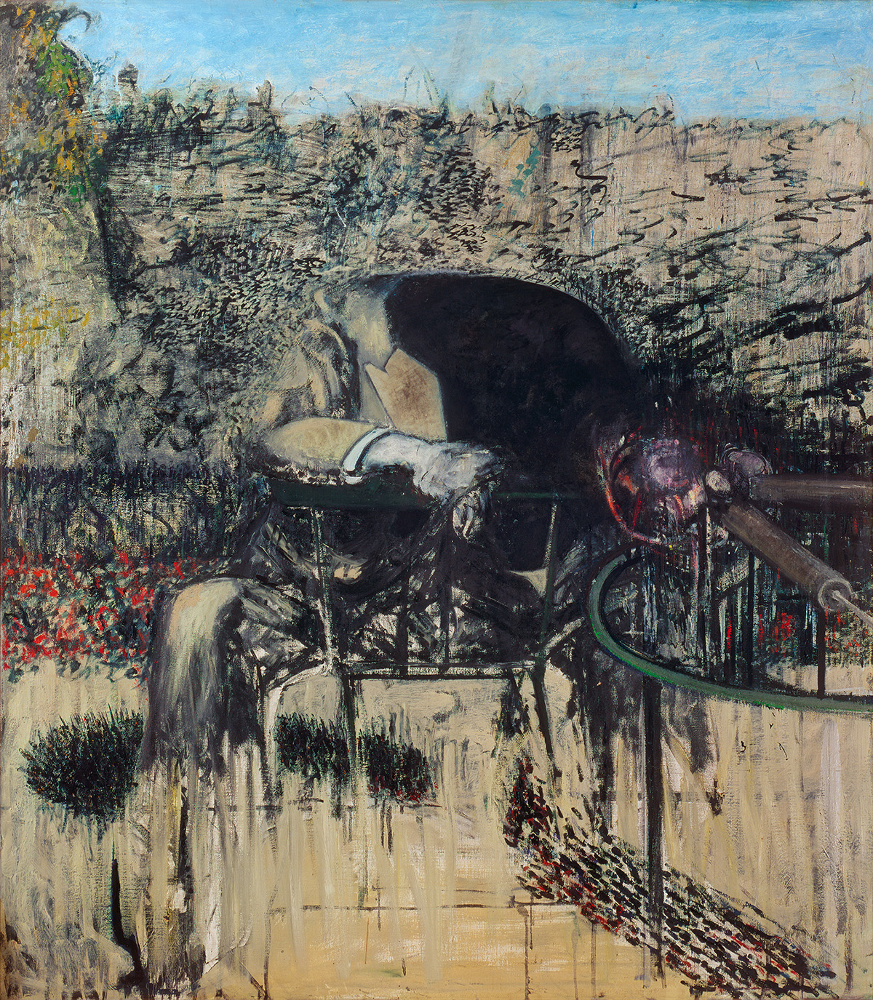 Decorative image, Francs Bacon's oil on canvas Figure in a Landscape, 1945