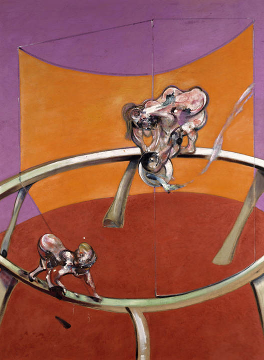 Decorative image: Francis Bacon's After Muybridge - Woman Emptying a Bowl of Water and Paralytic Child on All Fours, 1965