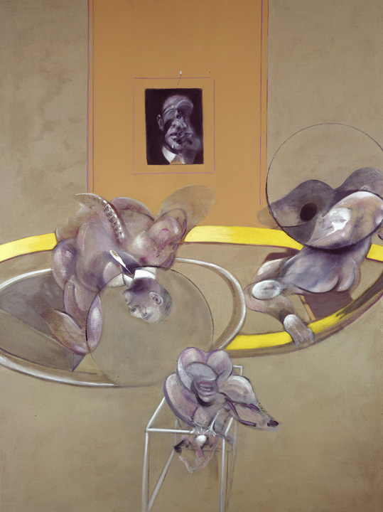 Francis Bacon, Three Figures and Portrait, 1975. Oil, pastel, alkyd paint and sand on canvas.