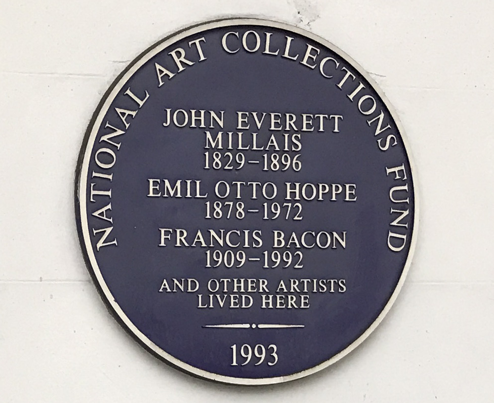 Bacon is presently recognised with a National Arts Trust Fund plaque at former London residence 7 Cromwell Place.