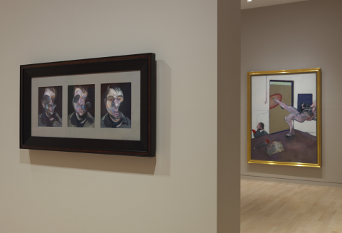 Installation shot from Late Paintings including 76-07 Three Studies for Self-Portrait