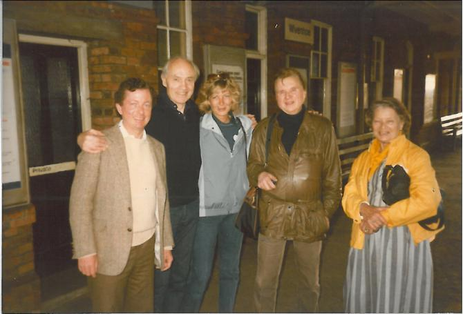 Photograph of John Stephenson, Richard Chopping, Francis Bacon and Ianthe Knott in Wivenhoe