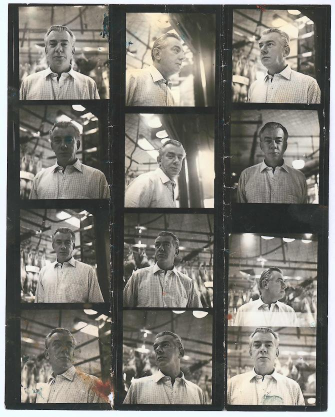 Contact sheet with photographs of Peter Lacy, by John Deakin